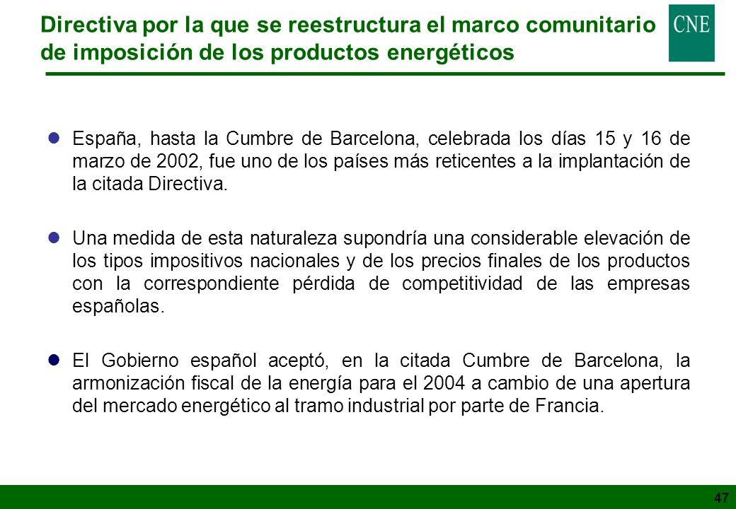47 Directiva por la que se reestructura el marco comunitario de imposición de los productos energéticos lEspaña, hasta la Cumbre de Barcelona, celebra