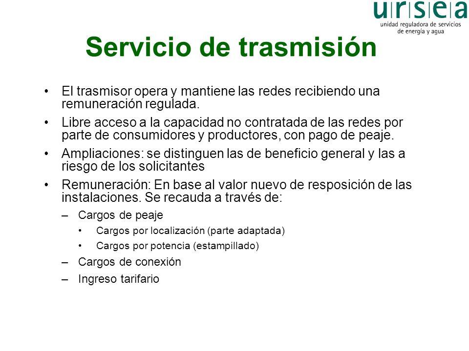 Servicio de trasmisión El trasmisor opera y mantiene las redes recibiendo una remuneración regulada. Libre acceso a la capacidad no contratada de las