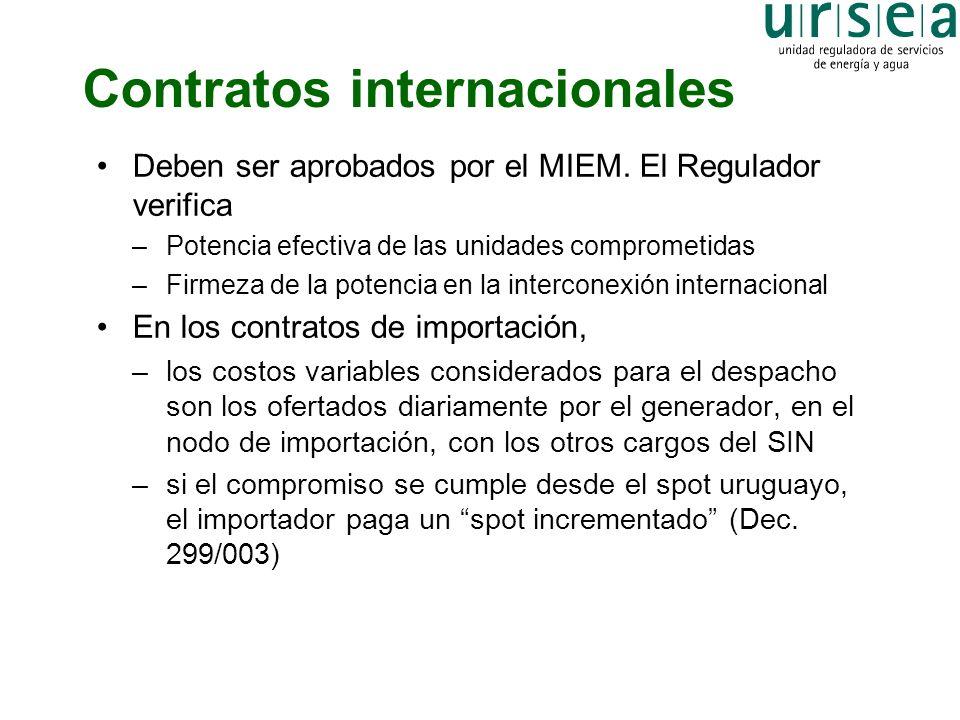 Contratos internacionales Deben ser aprobados por el MIEM. El Regulador verifica –Potencia efectiva de las unidades comprometidas –Firmeza de la poten