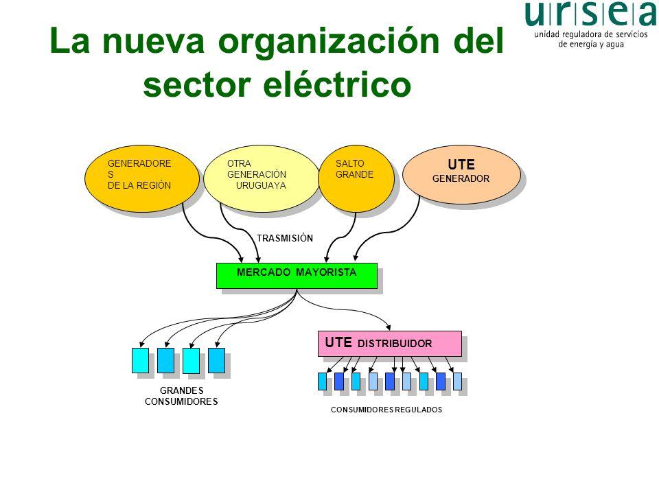 La nueva organización del sector eléctrico MERCADO MAYORISTA GENERADORE S DE LA REGIÓN GENERADORE S DE LA REGIÓN OTRA GENERACIÓN URUGUAYA OTRA GENERAC