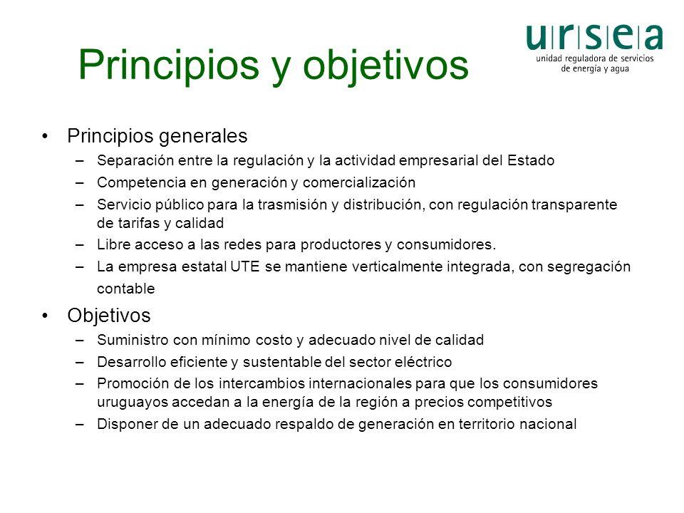 Principios y objetivos Principios generales –Separación entre la regulación y la actividad empresarial del Estado –Competencia en generación y comerci