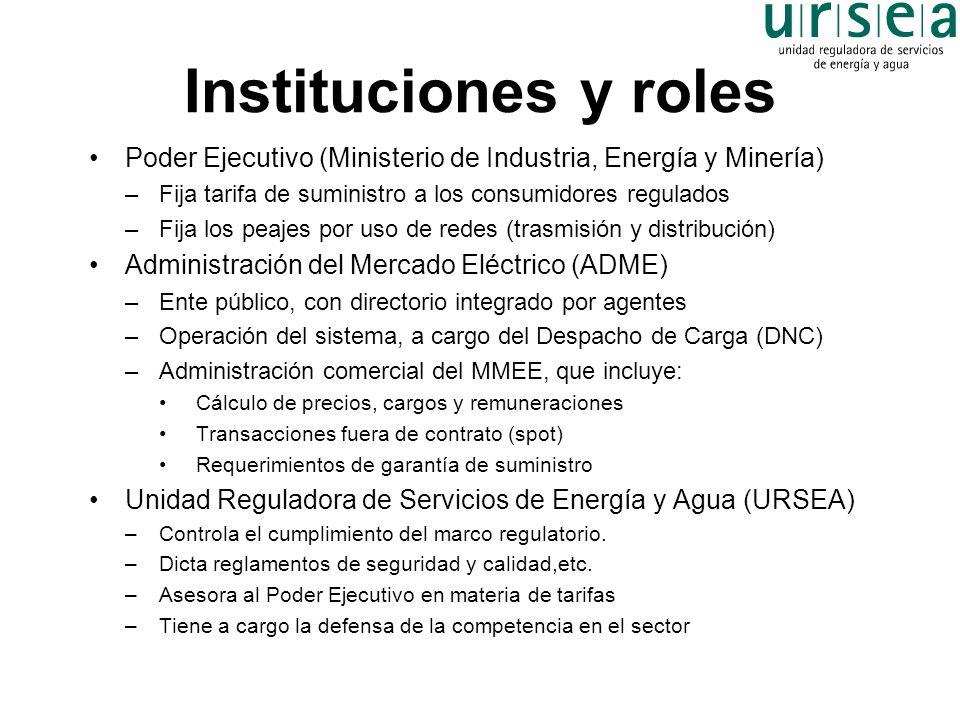 Instituciones y roles Poder Ejecutivo (Ministerio de Industria, Energía y Minería) –Fija tarifa de suministro a los consumidores regulados –Fija los p