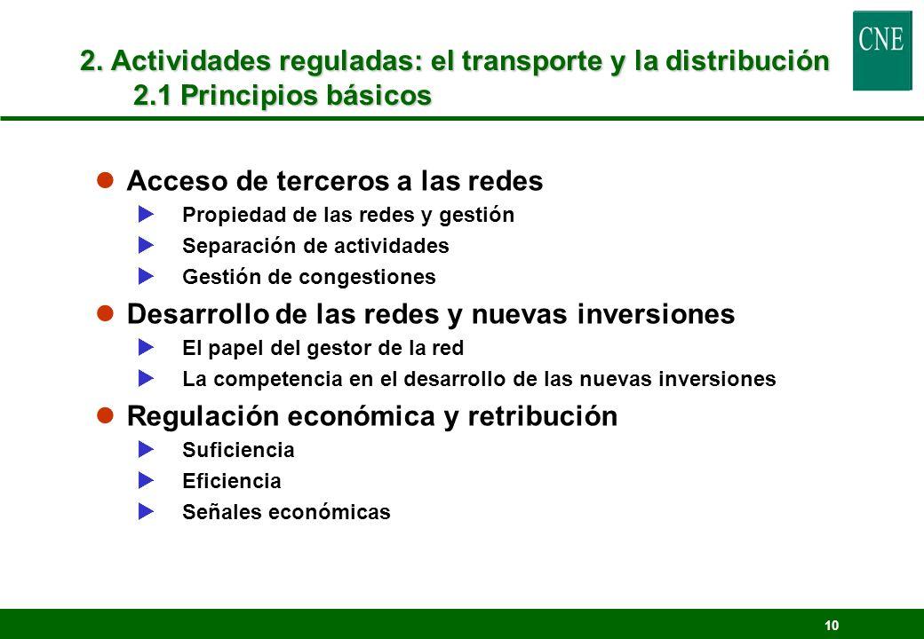 10 2. Actividades reguladas: el transporte y la distribución 2.1 Principios básicos lAcceso de terceros a las redes Propiedad de las redes y gestión S