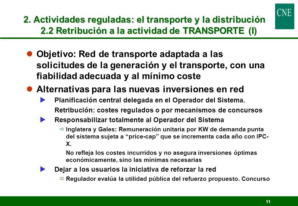 11 2. Actividades reguladas: el transporte y la distribución 2.2 Retribución a la actividad de TRANSPORTE (I) lObjetivo: Red de transporte adaptada a