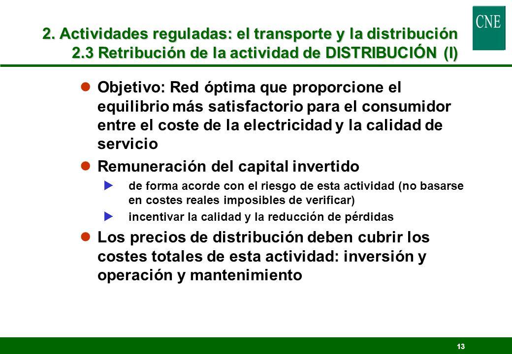13 2. Actividades reguladas: el transporte y la distribución 2.3 Retribución de la actividad de DISTRIBUCIÓN (I) lObjetivo: Red óptima que proporcione