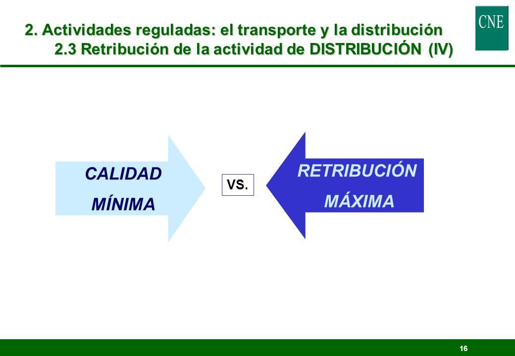 16 2. Actividades reguladas: el transporte y la distribución 2.3 Retribución de la actividad de DISTRIBUCIÓN (IV) CALIDAD MÍNIMA RETRIBUCIÓN MÁXIMA VS