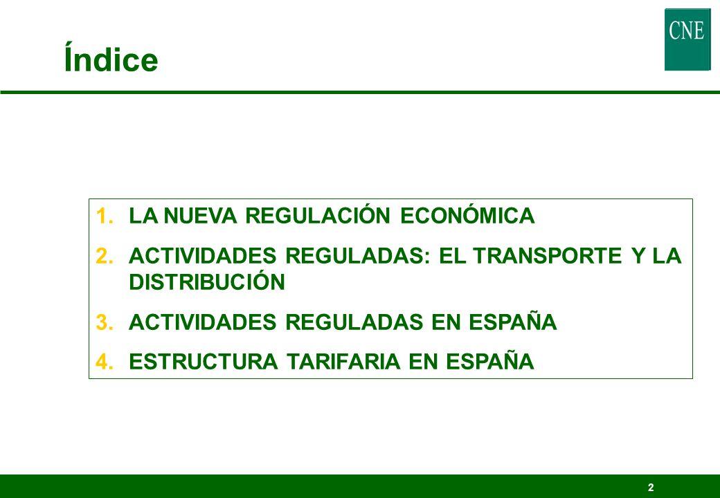 2 Índice 1.LA NUEVA REGULACIÓN ECONÓMICA 2.ACTIVIDADES REGULADAS: EL TRANSPORTE Y LA DISTRIBUCIÓN 3.ACTIVIDADES REGULADAS EN ESPAÑA 4.ESTRUCTURA TARIF