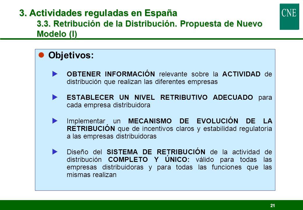 21 lObjetivos: OBTENER INFORMACIÓN relevante sobre la ACTIVIDAD de distribución que realizan las diferentes empresas ESTABLECER UN NIVEL RETRIBUTIVO A