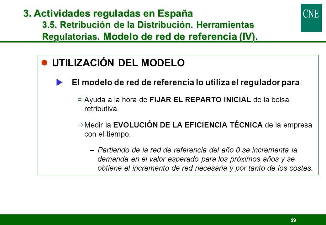 29 lUTILIZACIÓN DEL MODELO El modelo de red de referencia lo utiliza el regulador para: Ayuda a la hora de FIJAR EL REPARTO INICIAL de la bolsa retrib