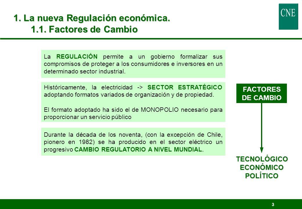 3 1. La nueva Regulación económica. 1.1. Factores de Cambio La REGULACIÓN permite a un gobierno formalizar sus compromisos de proteger a los consumido