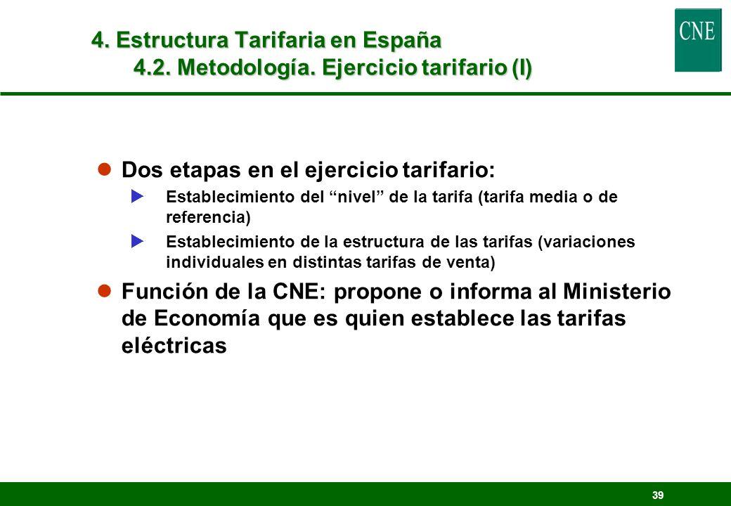 39 lDos etapas en el ejercicio tarifario: Establecimiento del nivel de la tarifa (tarifa media o de referencia) Establecimiento de la estructura de la