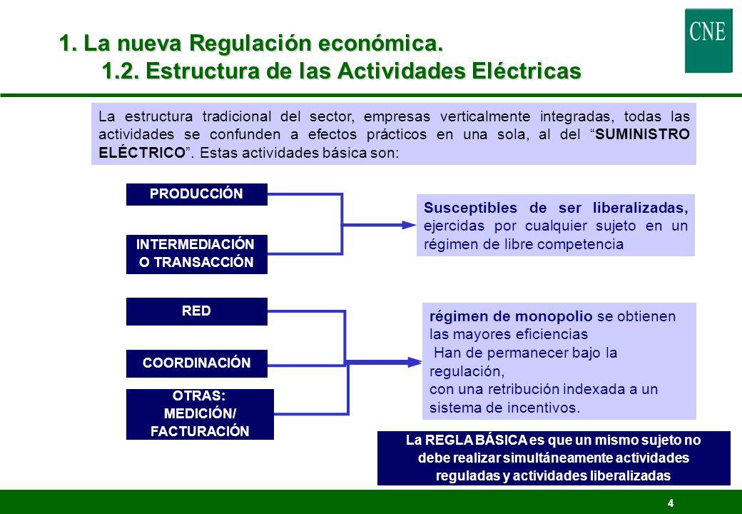 4 1. La nueva Regulación económica. 1.2. Estructura de las Actividades Eléctricas La estructura tradicional del sector, empresas verticalmente integra