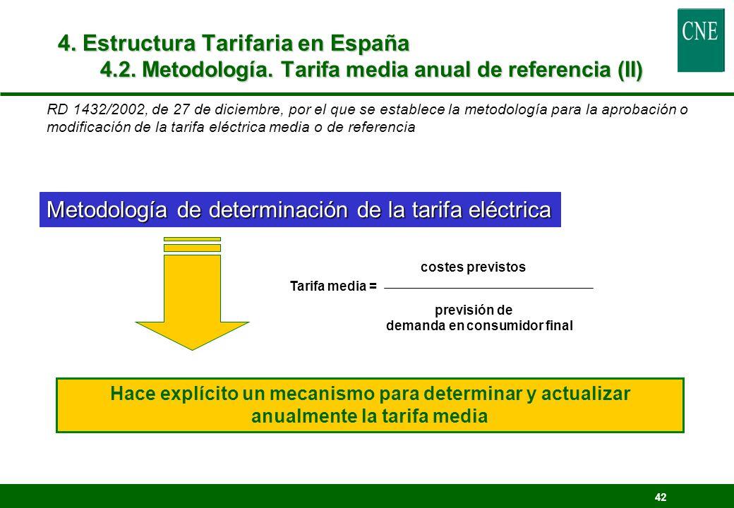 42 Metodología de determinación de la tarifa eléctrica 4. Estructura Tarifaria en España 4.2. Metodología. Tarifa media anual de referencia (II) coste