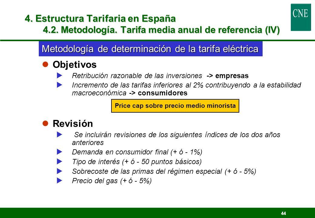 44 lObjetivos Retribución razonable de las inversiones -> empresas Incremento de las tarifas inferiores al 2% contribuyendo a la estabilidad macroecon