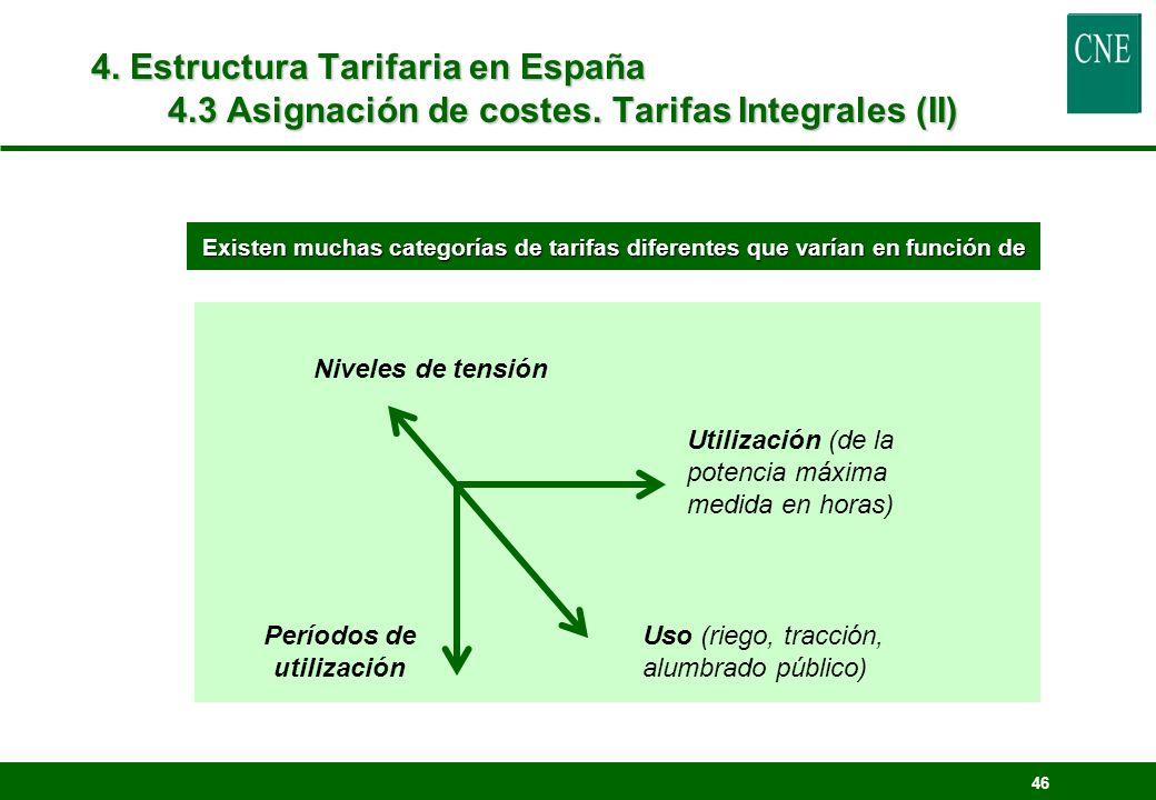 46 4. Estructura Tarifaria en España 4.3 Asignación de costes. Tarifas Integrales (II) Períodos de utilización Uso (riego, tracción, alumbrado público