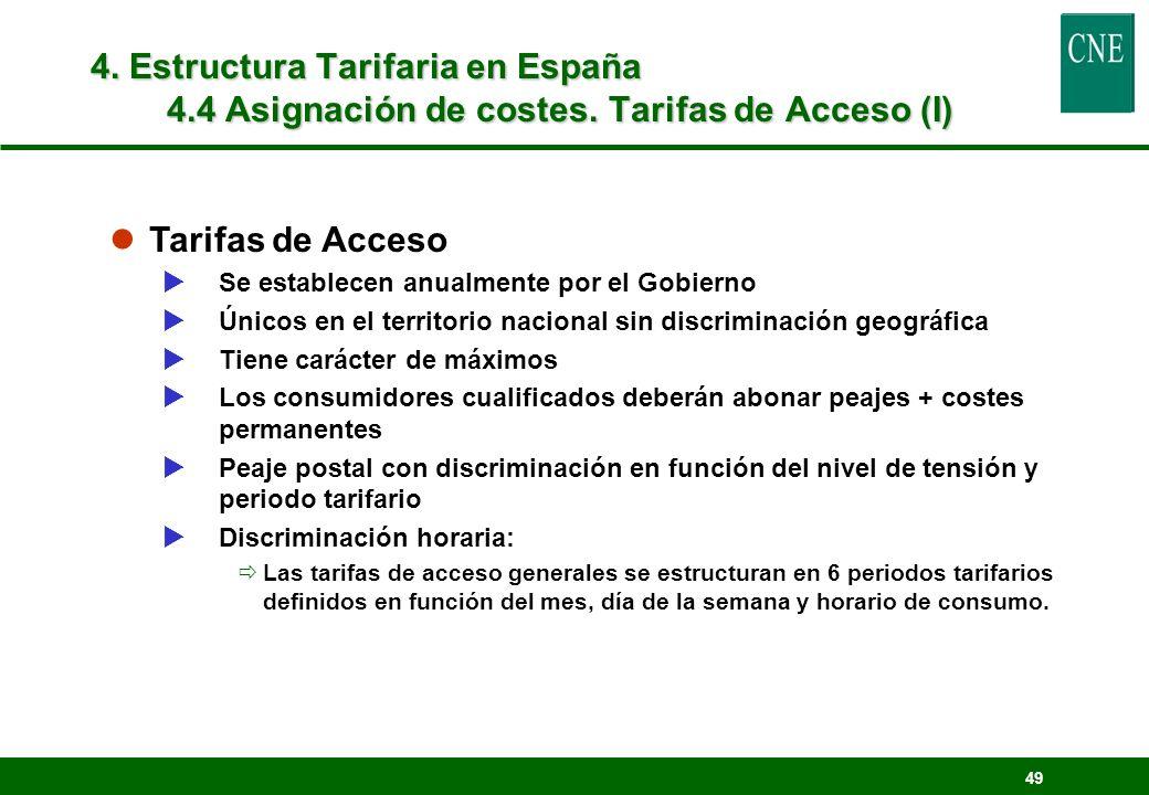 49 lTarifas de Acceso Se establecen anualmente por el Gobierno Únicos en el territorio nacional sin discriminación geográfica Tiene carácter de máximo