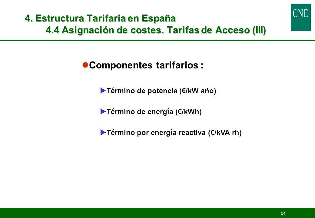 51 lComponentes tarifarios : Término de potencia (/kW año) Término de energía (/kWh) Término por energía reactiva (/kVA rh) 4. Estructura Tarifaria en