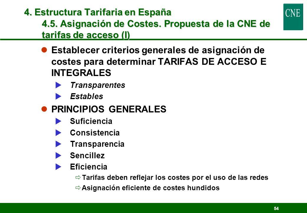 54 lEstablecer criterios generales de asignación de costes para determinar TARIFAS DE ACCESO E INTEGRALES Transparentes Estables lPRINCIPIOS GENERALES