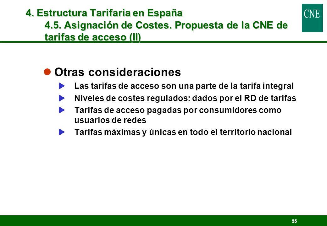 55 lOtras consideraciones Las tarifas de acceso son una parte de la tarifa integral Niveles de costes regulados: dados por el RD de tarifas Tarifas de