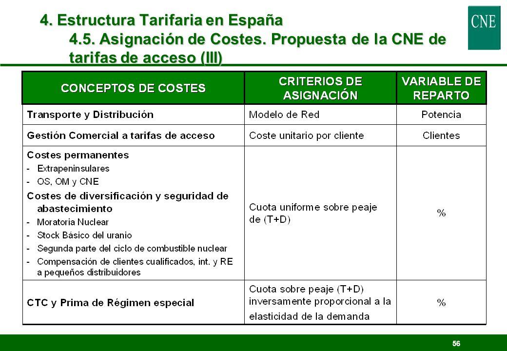 56 4. Estructura Tarifaria en España 4.5. Asignación de Costes. Propuesta de la CNE de tarifas de acceso (III)