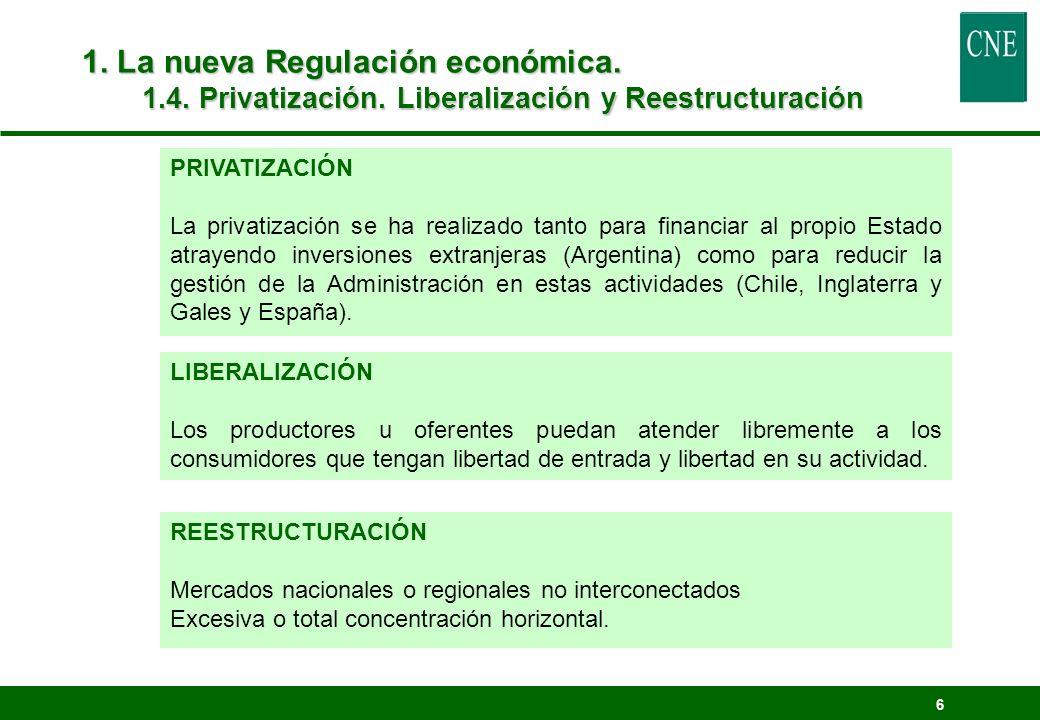 6 1. La nueva Regulación económica. 1.4. Privatización. Liberalización y Reestructuración LIBERALIZACIÓN Los productores u oferentes puedan atender li