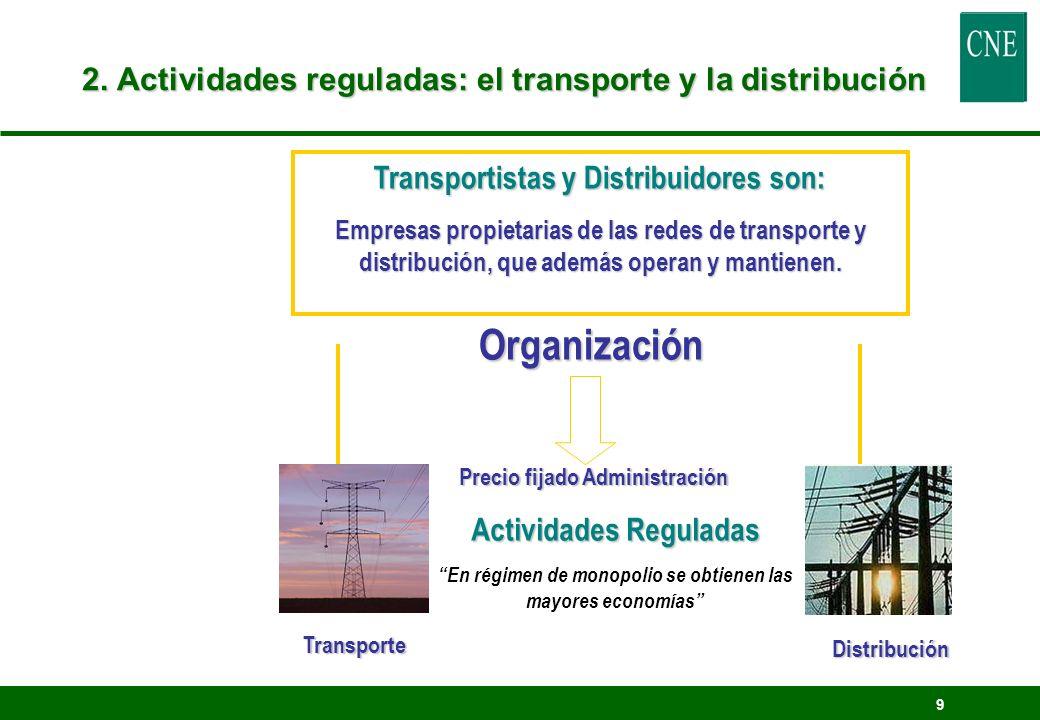 9 2. Actividades reguladas: el transporte y la distribución Organización Transportistas y Distribuidores son: Empresas propietarias de las redes de tr