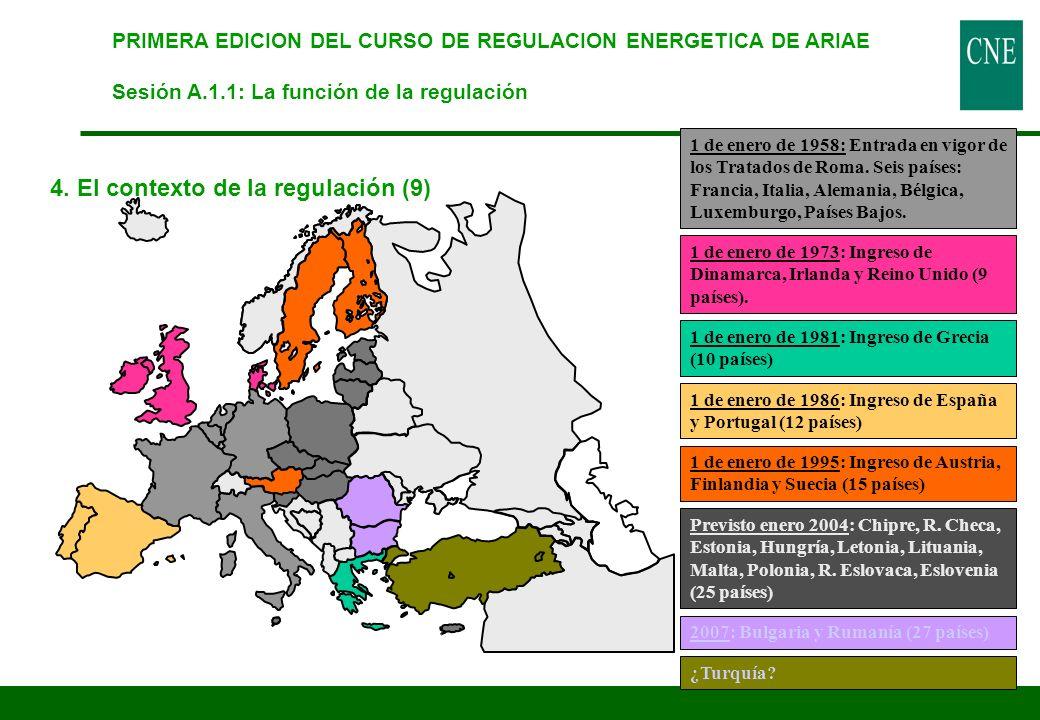 PRIMERA EDICION DEL CURSO DE REGULACION ENERGETICA DE ARIAE Sesión A.1.1: La función de la regulación 4. El contexto de la regulación (9) 1 de enero d
