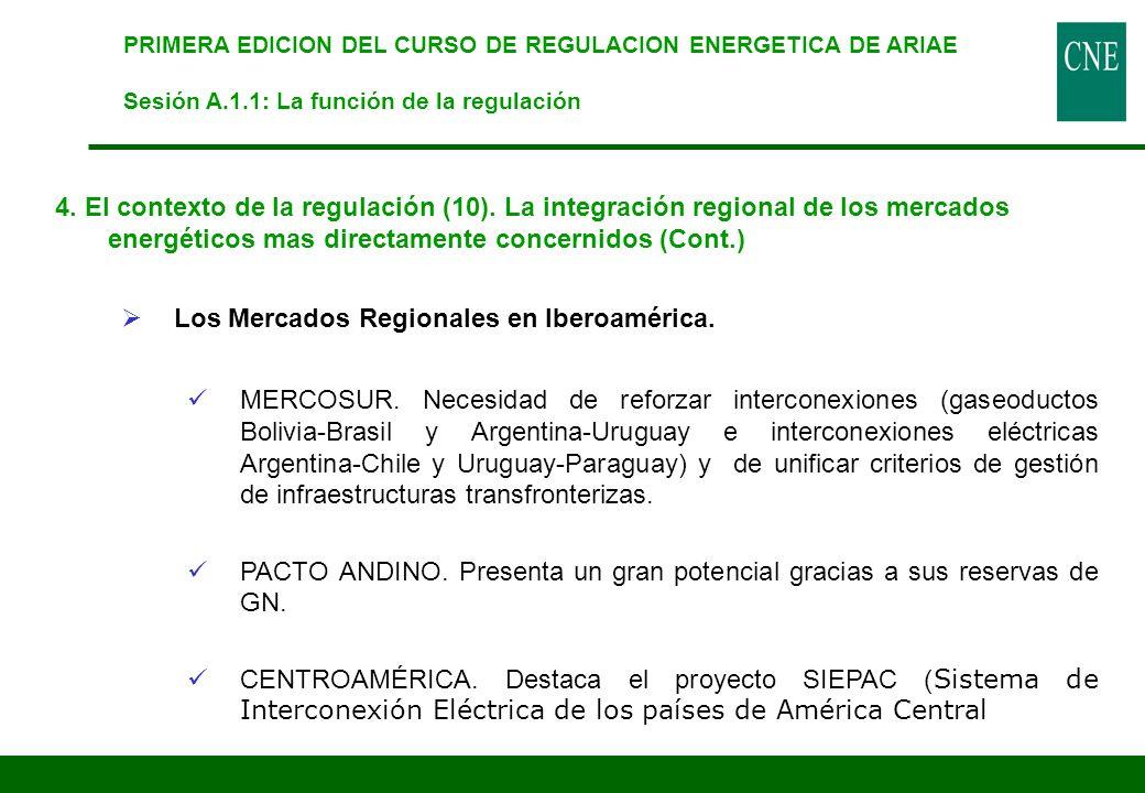 PRIMERA EDICION DEL CURSO DE REGULACION ENERGETICA DE ARIAE Sesión A.1.1: La función de la regulación 4. El contexto de la regulación (10). La integra