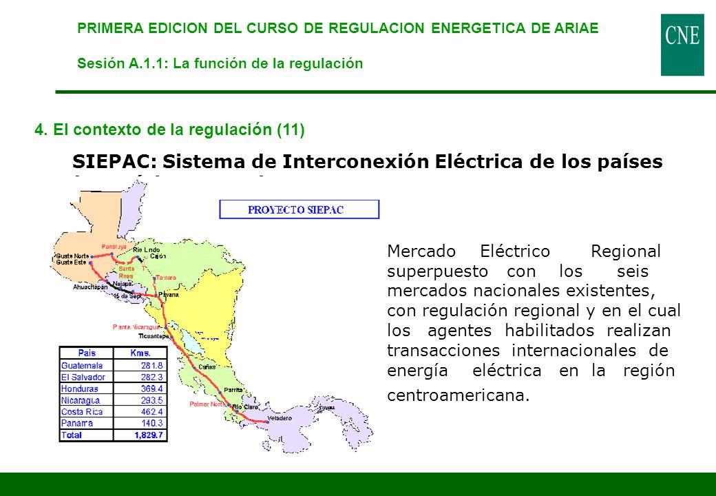 PRIMERA EDICION DEL CURSO DE REGULACION ENERGETICA DE ARIAE Sesión A.1.1: La función de la regulación 4. El contexto de la regulación (11) SIEPAC: Sis
