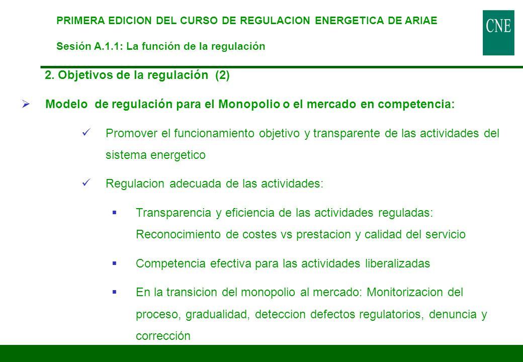2. Objetivos de la regulación (2) Modelo de regulación para el Monopolio o el mercado en competencia: Promover el funcionamiento objetivo y transparen
