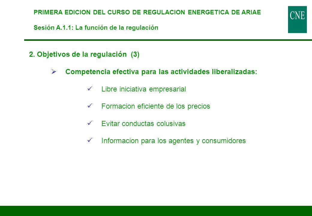 2. Objetivos de la regulación (3) Competencia efectiva para las actividades liberalizadas: Libre iniciativa empresarial Formacion eficiente de los pre