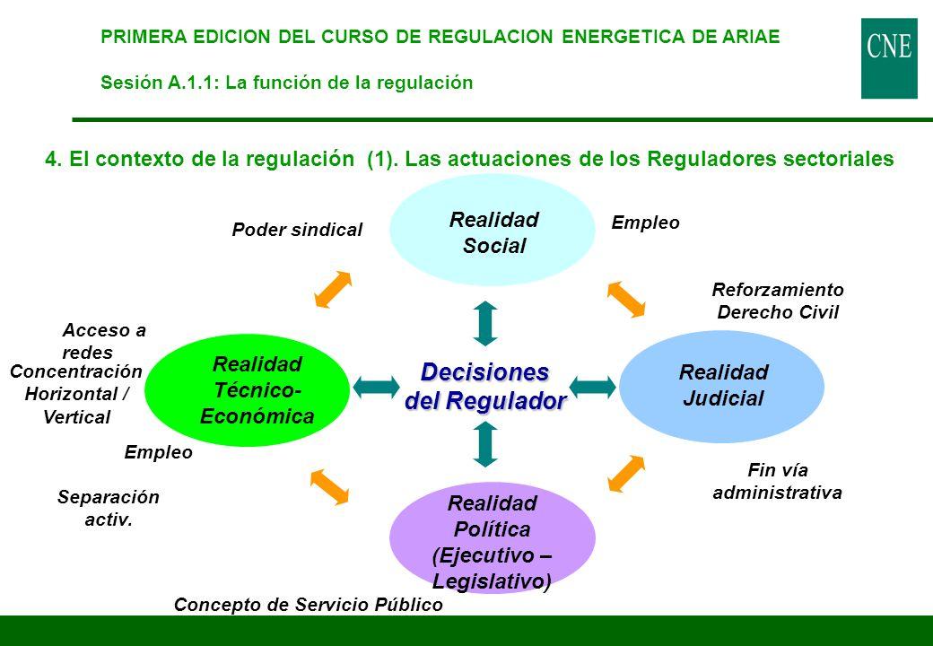 4. El contexto de la regulación (1). Las actuaciones de los Reguladores sectoriales PRIMERA EDICION DEL CURSO DE REGULACION ENERGETICA DE ARIAE Sesión