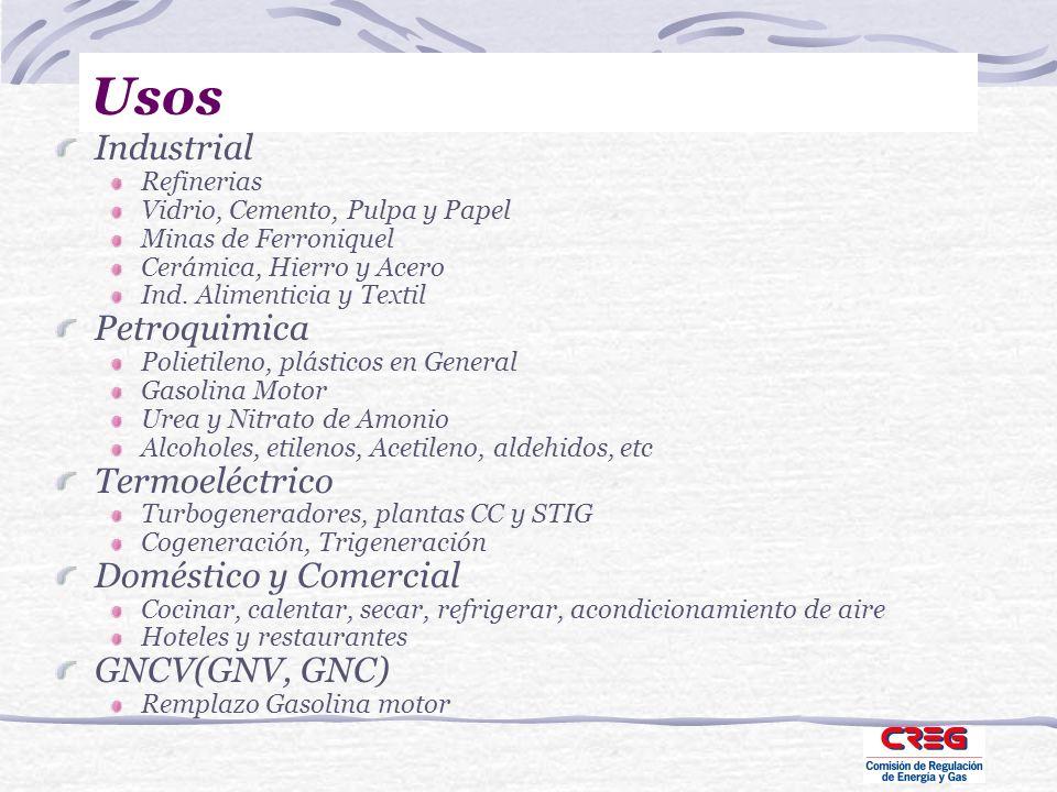 Usos Industrial Refinerias Vidrio, Cemento, Pulpa y Papel Minas de Ferroniquel Cerámica, Hierro y Acero Ind. Alimenticia y Textil Petroquimica Polieti