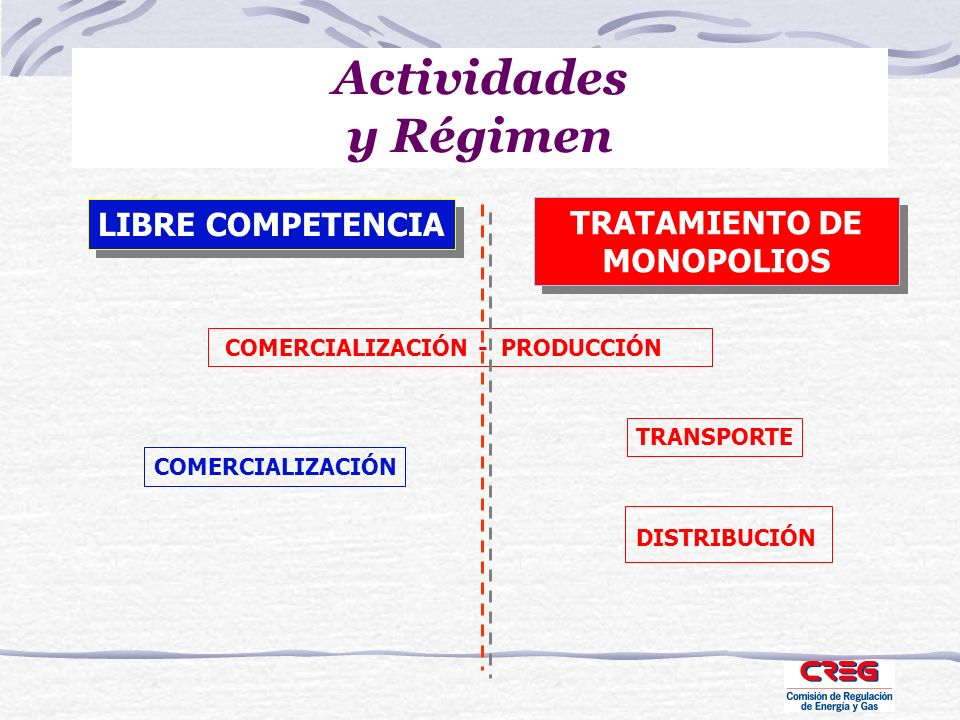 Actividades y Régimen COMERCIALIZACIÓN - PRODUCCIÓN TRANSPORTE DISTRIBUCIÓN COMERCIALIZACIÓN LIBRE COMPETENCIA TRATAMIENTO DE MONOPOLIOS