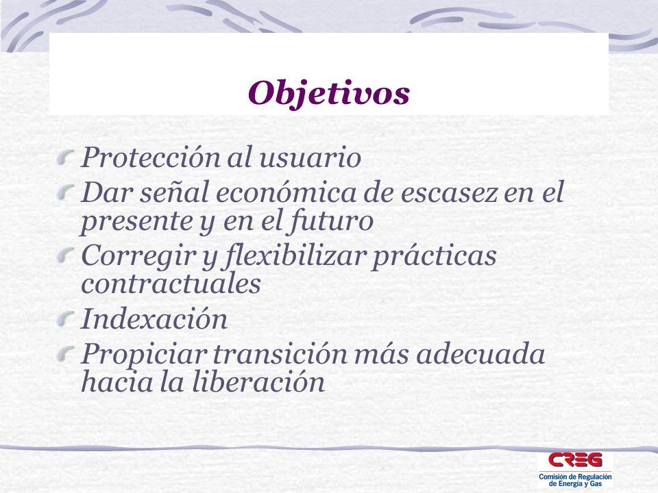 Objetivos Protección al usuario Dar señal económica de escasez en el presente y en el futuro Corregir y flexibilizar prácticas contractuales Indexació