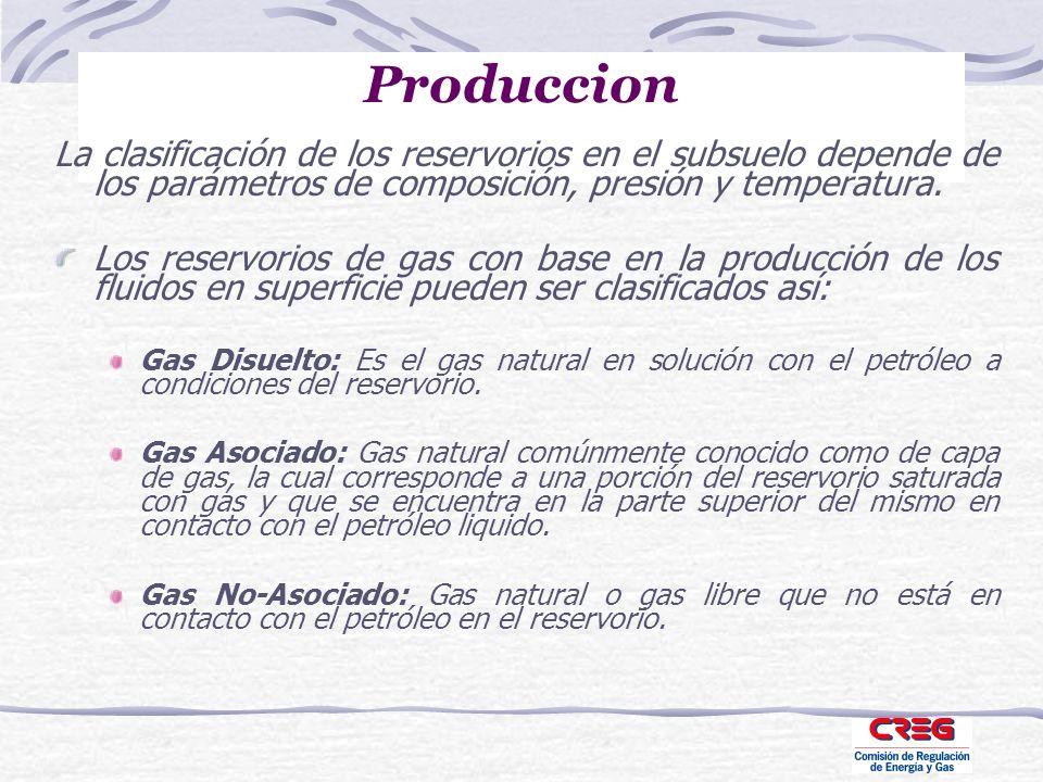 Produccion La clasificación de los reservorios en el subsuelo depende de los parámetros de composición, presión y temperatura. Los reservorios de gas