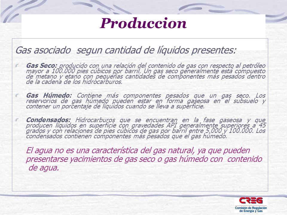 Produccion Gas asociado segun cantidad de líquidos presentes: Gas Seco: producido con una relación del contenido de gas con respecto al petróleo mayor