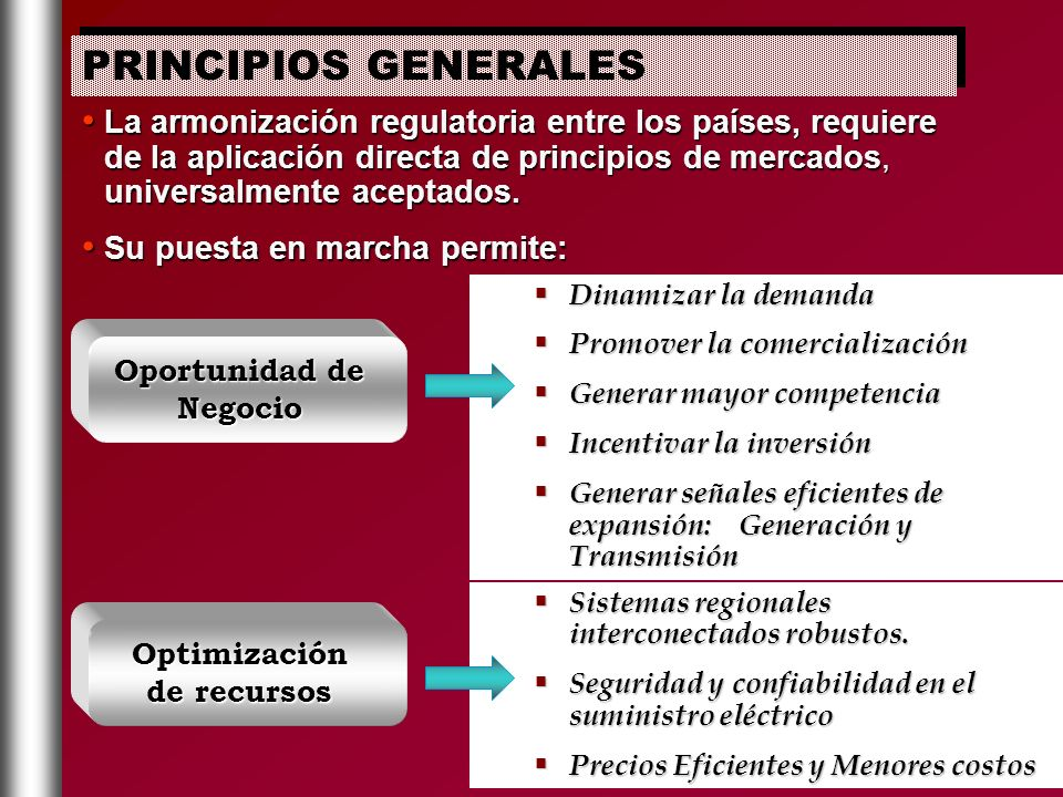 La armonización regulatoria entre los países, requiere de la aplicación directa de principios de mercados, universalmente aceptados. La armonización r