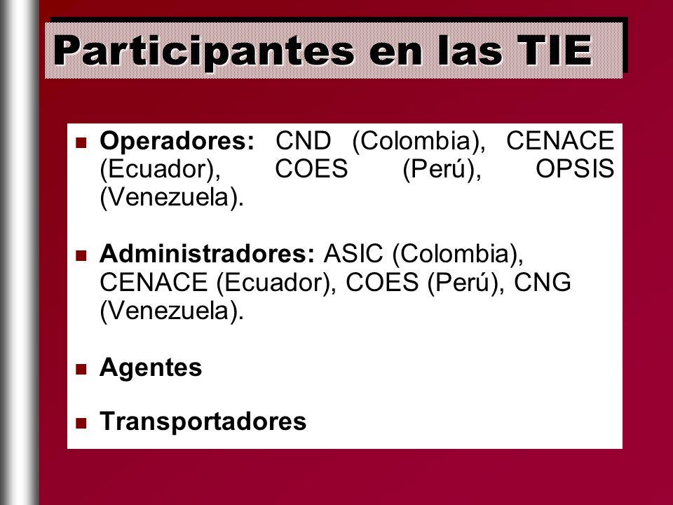 Operadores: CND (Colombia), CENACE (Ecuador), COES (Perú), OPSIS (Venezuela). Administradores: ASIC (Colombia), CENACE (Ecuador), COES (Perú), CNG (Ve