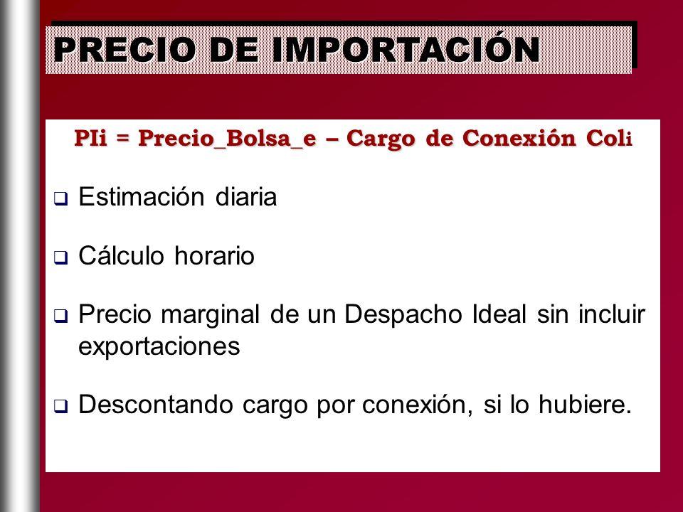 PIi = Precio_Bolsa_e – Cargo de Conexión Col PIi = Precio_Bolsa_e – Cargo de Conexión Col i Estimación diaria Cálculo horario Precio marginal de un De