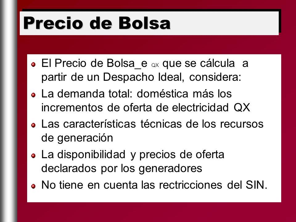 El Precio de Bolsa_e QX que se cálcula a partir de un Despacho Ideal, considera: La demanda total: doméstica más los incrementos de oferta de electric
