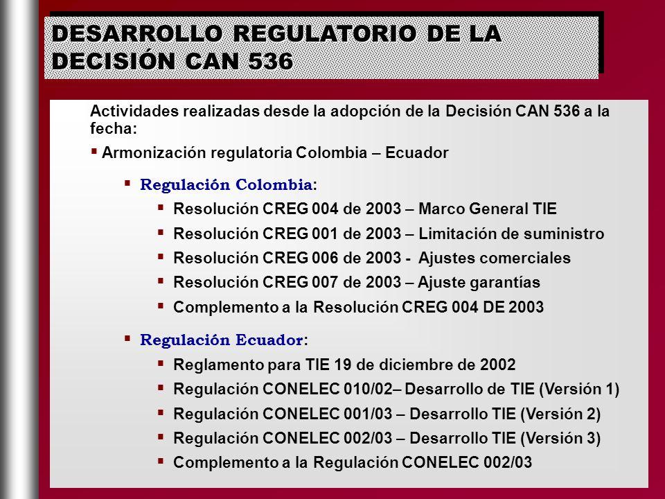 Actividades realizadas desde la adopción de la Decisión CAN 536 a la fecha: Armonización regulatoria Colombia – Ecuador Regulación Colombia : Resoluci