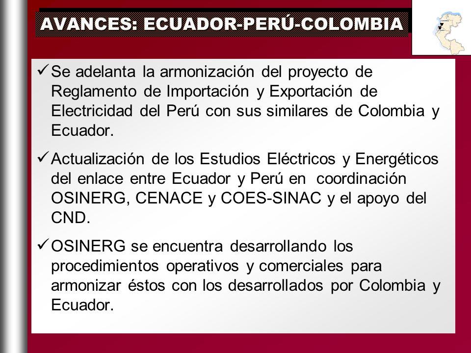 Se adelanta la armonización del proyecto de Reglamento de Importación y Exportación de Electricidad del Perú con sus similares de Colombia y Ecuador.