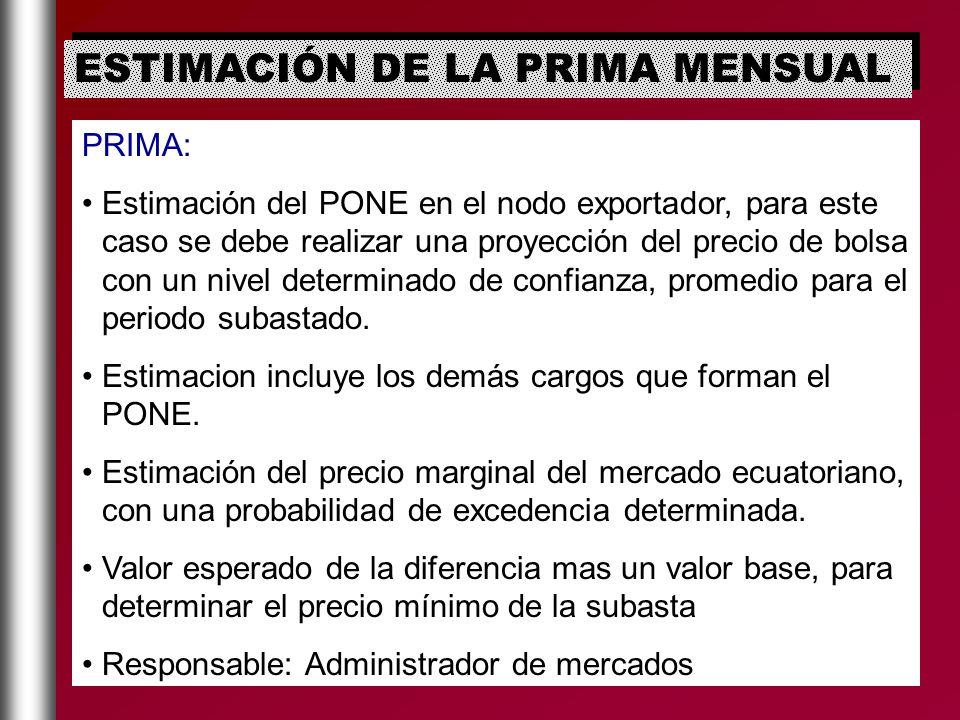 PRIMA: Estimación del PONE en el nodo exportador, para este caso se debe realizar una proyección del precio de bolsa con un nivel determinado de confi