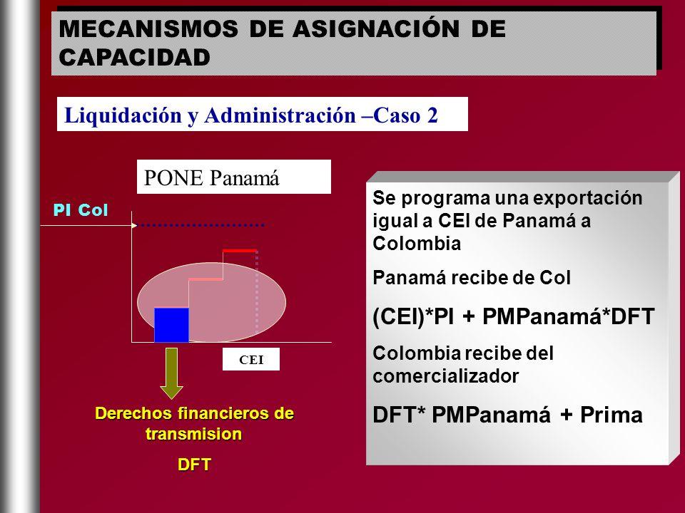 PONE Panamá CEI PI Col Se programa una exportación igual a CEI de Panamá a Colombia Panamá recibe de Col (CEI)*PI + PMPanamá*DFT Colombia recibe del c
