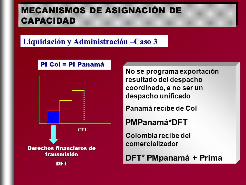CEI PI Col = PI Panamá No se programa exportación resultado del despacho coordinado, a no ser un despacho unificado Panamá recibe de Col PMPanamá*DFT