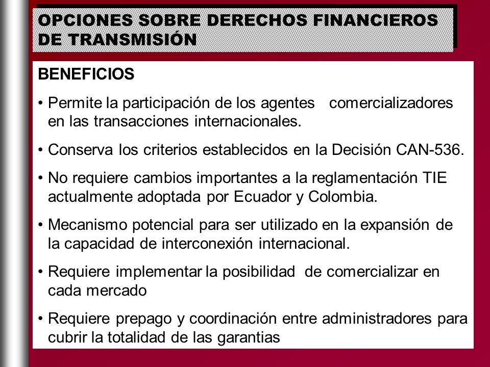 OPCIONES SOBRE DERECHOS FINANCIEROS DE TRANSMISIÓN BENEFICIOS Permite la participación de los agentes comercializadores en las transacciones internaci