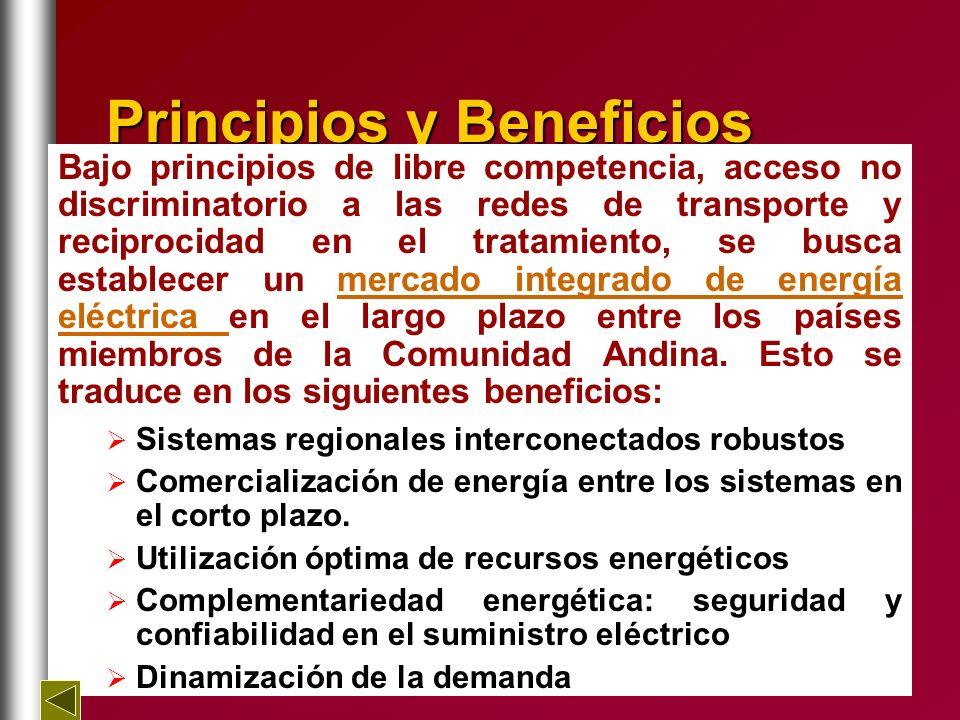 Principiosy Beneficios Principios y Beneficios Bajo principios de libre competencia, acceso no discriminatorio a las redes de transporte y reciprocida
