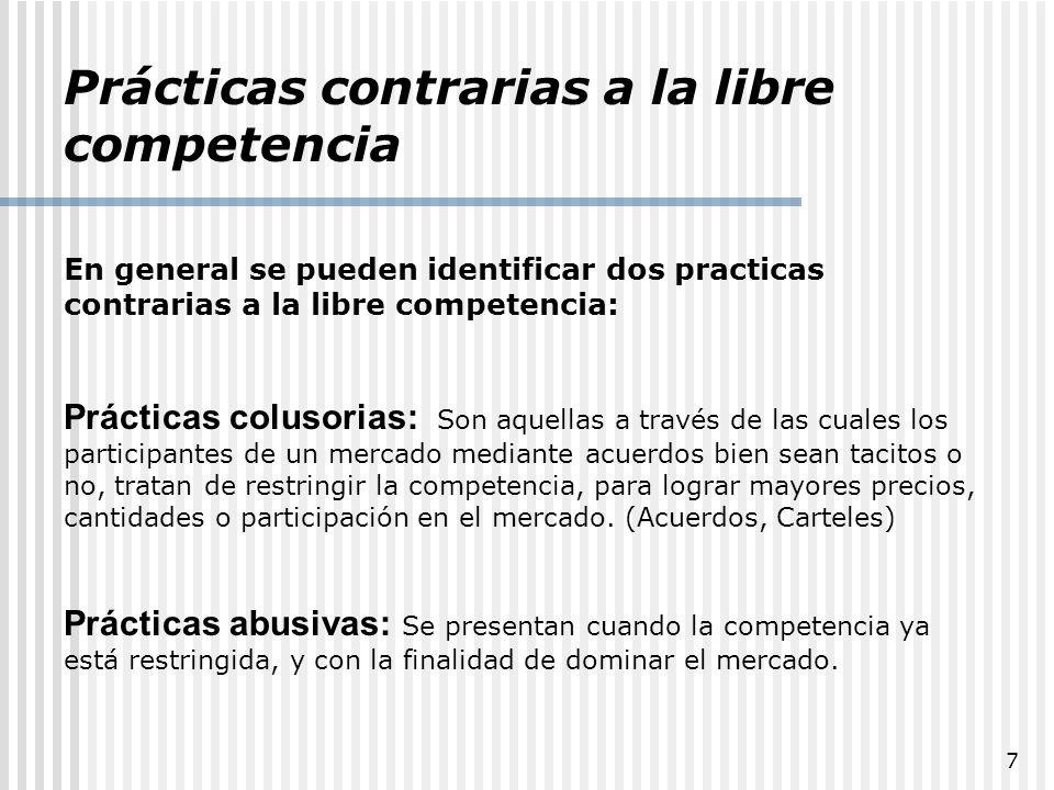 28 CRITERIO DE COMPETENCIA PRACTICABLE (Mercados Contestables) Su desarrollo y difusión se debe al Departamento de Justicia de los EU (Decada de 1980).