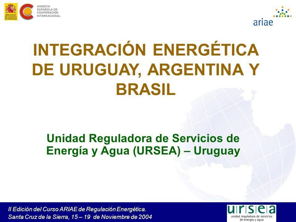 II Edición del Curso ARIAE de Regulación Energética. Santa Cruz de la Sierra, 15 – 19 de Noviembre de 2004 INTEGRACIÓN ENERGÉTICA DE URUGUAY, ARGENTIN
